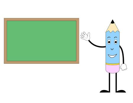 green board: Happy Pencil with green board