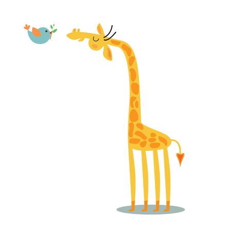 giraffe: Jirafa y p�jaro Foto de archivo
