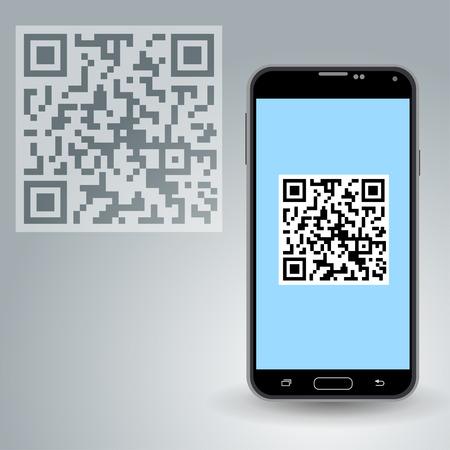 secret codes: QR code in smartphone Stock Photo