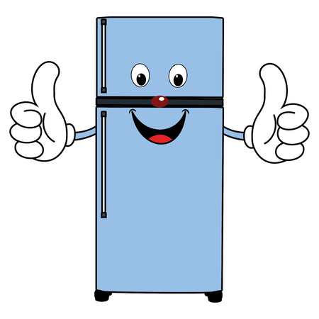 two thumbs up: Happy Cartoon Fridge Stock Photo
