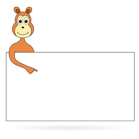 Cartoon monkey with placard