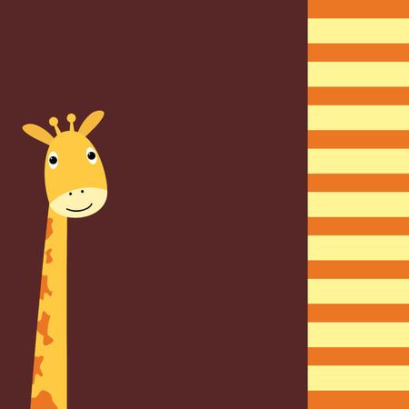 jirafa cute: Tarjeta linda de la jirafa Foto de archivo