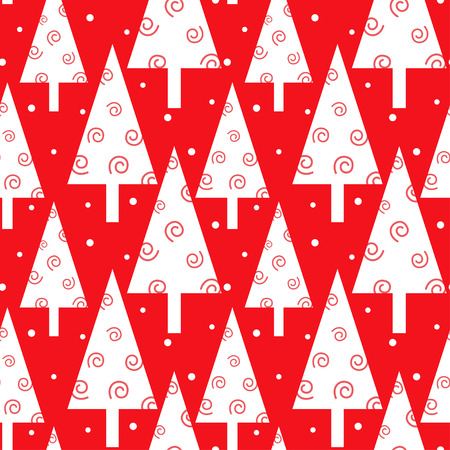 Red Christmas trees pattern Stock Photo