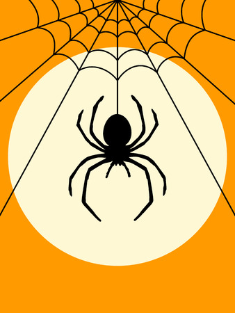 spider cartoon: Halloween Spider Silhouette poster