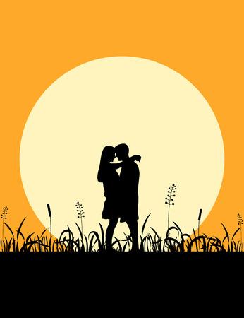 romantic: Romantic couple at sunset Stock Photo