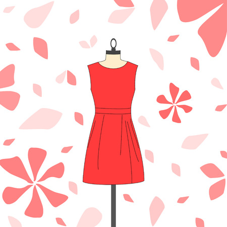 Women's korte rode jurk