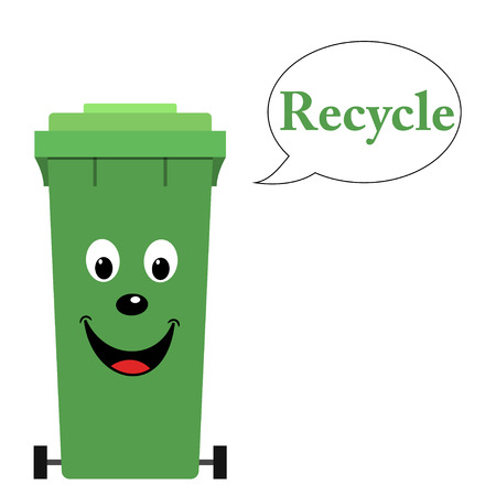 garbage bin: Garbage bin with recycle text