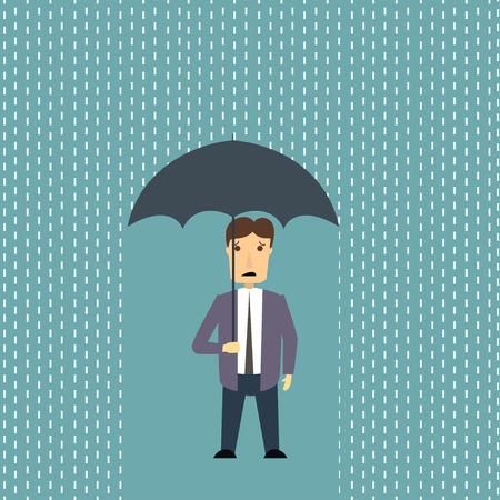 homme inquiet: Homme inquiet sous la pluie Banque d'images