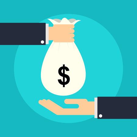 dinero: Dar dinero  Foto de archivo