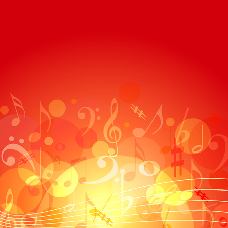 musical notes background: Fire color themed music background