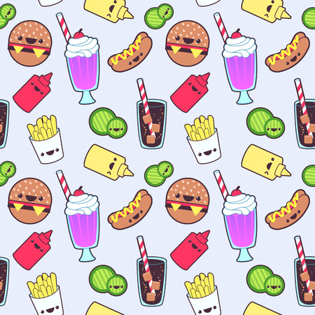 kawaii: Kawaii food seamless pattern Stock Photo
