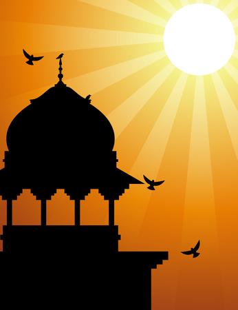 minaret: Minaret silhouette with sunlight