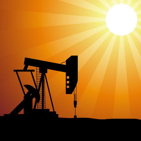pozo petrolero: Silueta pozo de petróleo en la puesta del sol