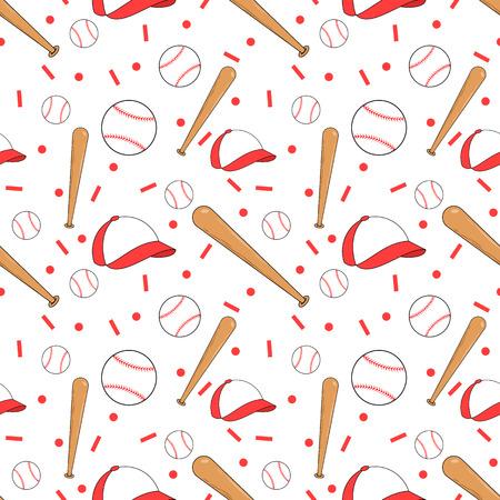 baseball caps: Seamless baseball pattern Stock Photo