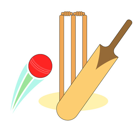cricket game: Cricket equipment Stock Photo