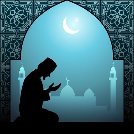 man praying: Muslim man praying illustration Stock Photo