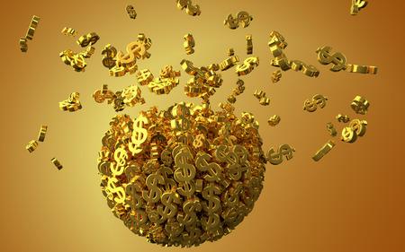 disperse: Exploding golden dollar symbols