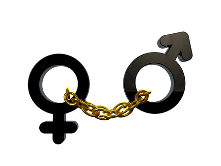 3d nude: Chained male and female sex symbols Stock Photo