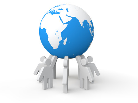 businessman carrying a globe: 3D men holding earth globe