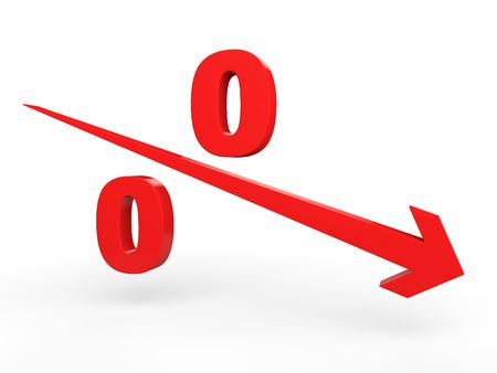 Procentuele daling begrip Stockfoto