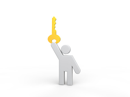 golden key: 3d man holding a golden key