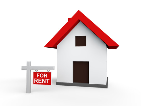 rent: 3d house with for rent sign board