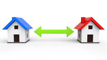 house exchange: 3d house exchange concept