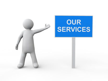 3d man with our services sign board Stock Photo