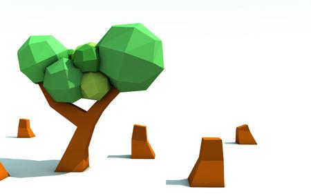 deforestation: 3d origami tree deforestation