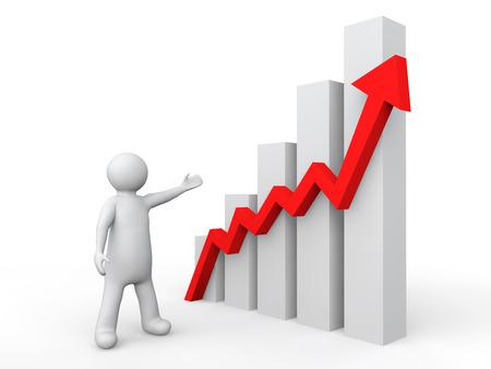 business graph: 3d man showing profit graph Stock Photo