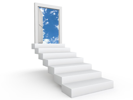 Stairs to door in the sky Stock Photo