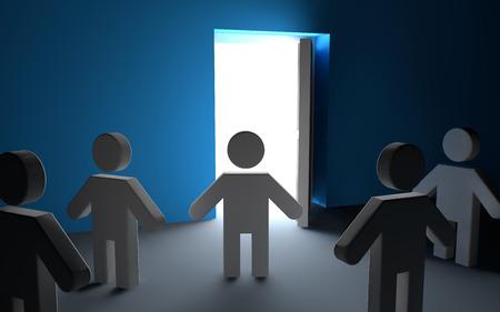 mysterious: 3d men looking at open door