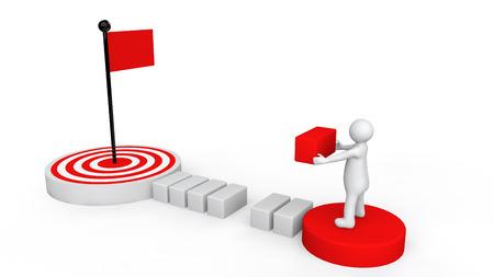 metas: Hombre 3d plan de meta de llegar