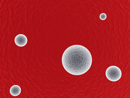 chemo: 3d white germs in red background