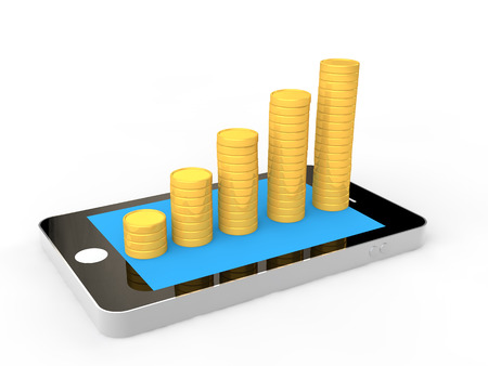 3D mobile phone and coins stacks