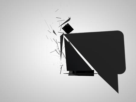 disintegrating: 3d shattered talk bubble