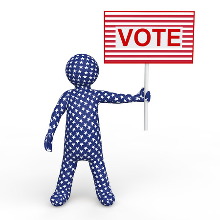 voting: 3d man holding voting placard