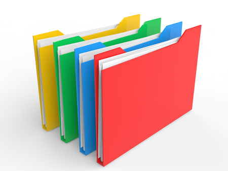 3d colorful file folders Stock Photo