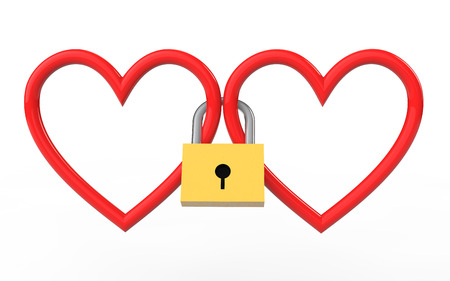 3d hearts locked together with lock stock photo picture and royalty
