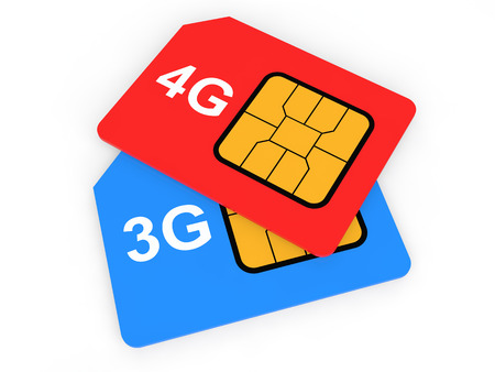 3g: 3d 3G and 4G SIM cards Stock Photo