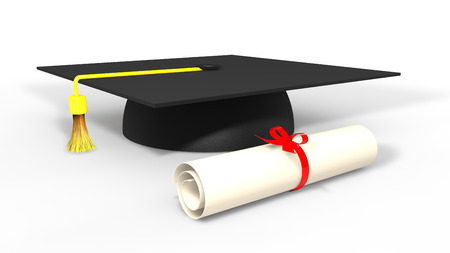 commencement: 3d graduation cap and degree Stock Photo