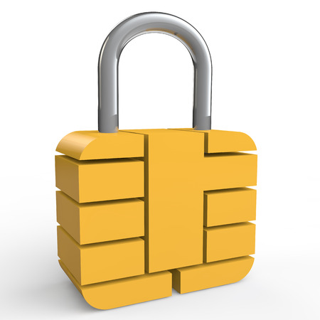 lock: 3d security chip lock Stock Photo