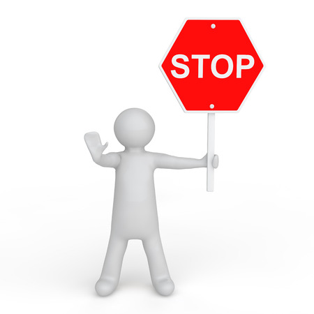 sign board: 3d man with stop sign board
