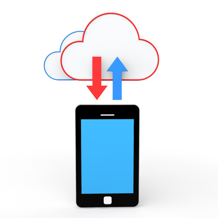 cloud storage: 3d cell phone and cloud storage Stock Photo