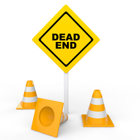 dead end: 3d traffic cones and dead end sign