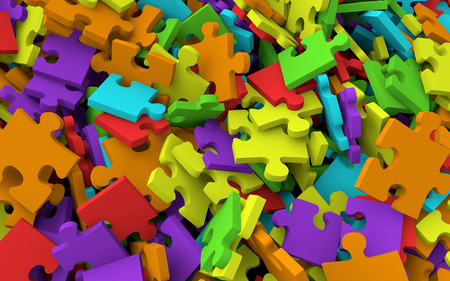 jigsaw pieces: 3D pile of jigsaw puzzle pieces