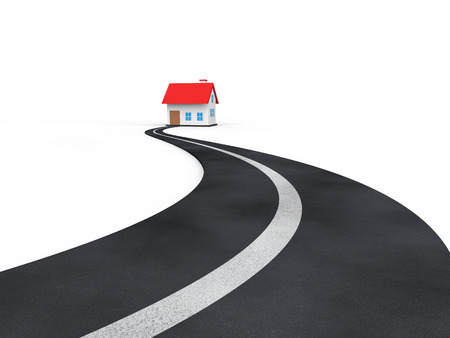 dream house: 3d asphalt road leading to a house Stock Photo