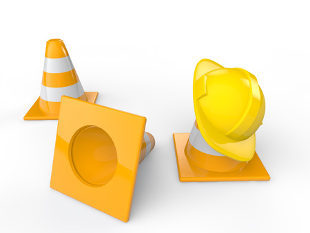 traffic   cones: 3d safety helmet and traffic cones