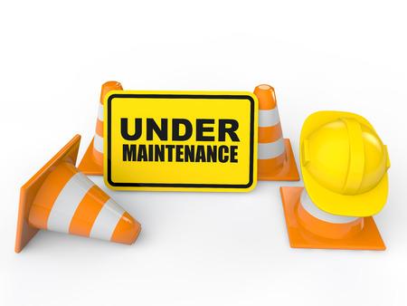 3d under maintenance sign board