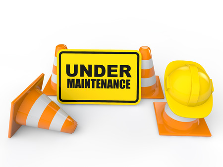 site: 3d under maintenance sign board
